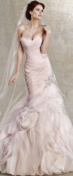 Kitty Chen Pink Blush Wedding Gown I love the color the the skirt and the placement of sparkles, okay I love the whole thing!