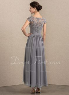 004995053ef   188.99  A-Line Princess Scoop Neck Asymmetrical Chiffon Lace Mother of  the Bride Dress (008164106)