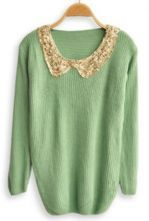 Green Sequined Lapel Long Sleeve Pullovers Sweater ...Website has GREAT SWEATERS