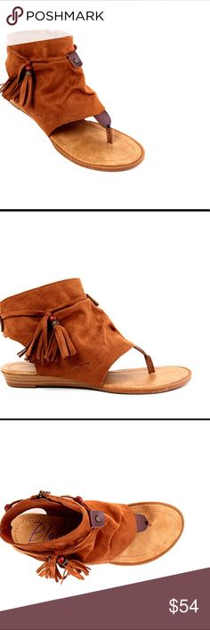 Boho Chic Style Sandals Fashionable Tan Blowfish Brueke wedge sandals with a faux suede upper, an open toe, zipper side closure, tassel detail, lightly cushioned foot bed and a durable man made outsole with a 3/4 inch wedge heel. 072520172124590 Blowfish Shoes Sandals