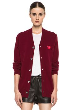 Commes Des Garçons Play Cardigan with Red Emblem in Burgundy