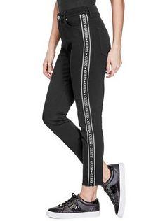 b82ad29f6268f Nyla Logo Tape Straight Jeans | Guess Factory Canada Women's Straight Jeans,  Guess Jeans,