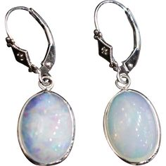 Stunning Hand Set Natural Ethiopian Opal Diamond Earrings in 14KT White Gold This item found at www.rubylane.com is currently listed to be on sale at 30% off for 48 hours starting 7/19/16 at 8am PDT #rubyredtagsale @rubylanecom