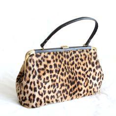 Vintage Leopard Handbag Print Purse Faux Fur 60s Hand Bag Extra Large Animal Print