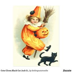Cute Clown Black Cat Jack O Lantern Postcard