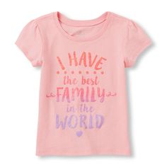 Place Shops Toddler 'I Have The Best Family In The World' Glitter Graphic Tee - Pink T-Shirt - The Children's Place