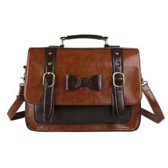 Ecosusi Women Vintage PU Leather Messenger Bag Satchel Handbag: Amazon.ca: Luggage & Bags