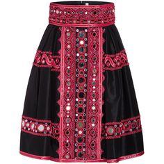 Naeem Khan Mirror Beaded Short Taffeta Skirt (€8.050) ❤ liked on Polyvore featuring skirts, mini skirts, high waisted skirts, mirror skirt, high rise skirts, pleated skirt and taffeta skirt