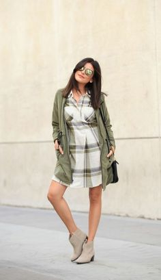 This flannel shirtdress and olive-green jacket will get you through the highs and lows (and we're not just talking temps).