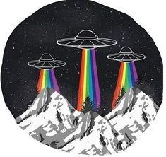 รูปภาพ alien, rainbow, and ufo