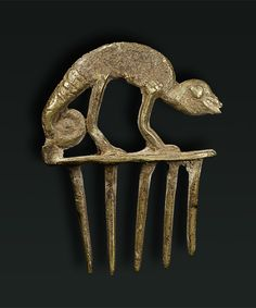 Africa | Chameleon hair pin from the Dogon people of Mali | Bronze | mid 1900s.