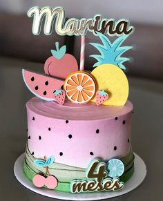 Bolo Laura, Aloha Cake, Birthday Cakes Girls Kids, Birthday Cake With Flowers, Watermelon Cake, Gateaux Cake, Fruit Party, Little Cakes, Cake Pictures