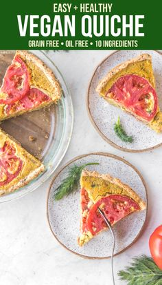 This Vegan Quiche recipe is Soy, Gluten, and Grain Free, but tastes absolutely amazing! Made with Tomatoes, Caramelized Onions, and Dill, it's perfect for a weekend brunch or hearty breakfast. #vegan #plantbased #brunch #healthybrunch #quiche #veganquiche #soyfree via frommybowl.com