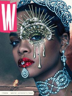 Rihanna Graces The Cover Of 'W' Magazine. Rihanna slays again with her latest W Magazine cover. Donning some highly sought after Cartier bling — and some Rihanna E, Rihanna Cover, Rihanna Crown, Rihanna Nails, Rihanna Music, Makeup Inspo, Makeup Art, Makeup Inspiration, Fairy Makeup