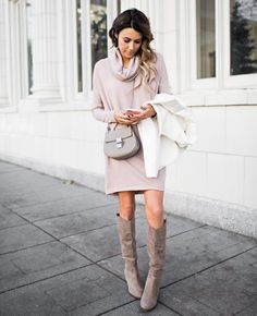 Love the light pink sweater dress with taupe accessories.  Nice soft look.