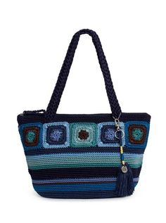 """Loads of crocheted totes over at The Sak -- the latest feature granny square-style motifs (this is the Kenya Medium Round Tote in """"Neptune"""")"""