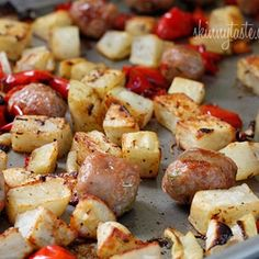 Roasted Potatoes, Chicken Sausage And Peppers