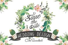 Wedding graphic set with succulents by Graphic Box on @creativemarket