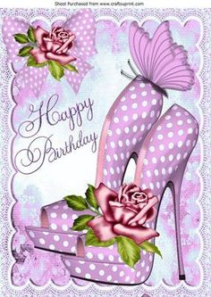 Pink polka dot shoes and roses for Birthday A4 on Craftsuprint - Add To Basket!