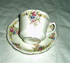 vintage Foley fine bone china teacup and saucer pattern 1484 floral #Foley