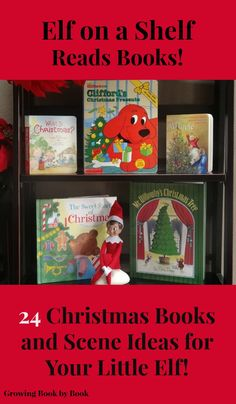 Elf on the Shelf Ideas- 24 Books and Scenes for your little elf! from growingbookbybook.com
