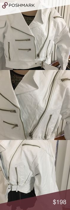 Stunning new  leather zippers short jacket w belt Stunning belted new never used biker New Mexico biker shop jacket . It is absolutely gorgeous when tried on w skinny jeans but it fits tight. bikers Boutique Jackets & Coats