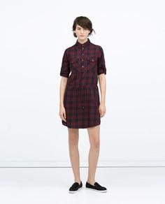 Image 1 of GATHERED WAIST CHECKED DRESS from Zara