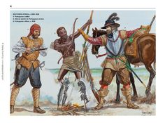 Portuguese Soldiers in South Africa, Early Century Kingdom Of Kongo, Portuguese Empire, 16th Century Clothing, Arm Armor, Illustrations, Historical Pictures, African History, Military History, Renaissance