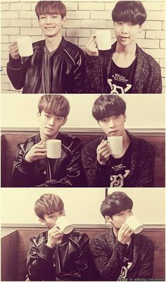 Chen and Lay with the same haircut and same coffee and poses. Awww. They look like a set. I need both!
