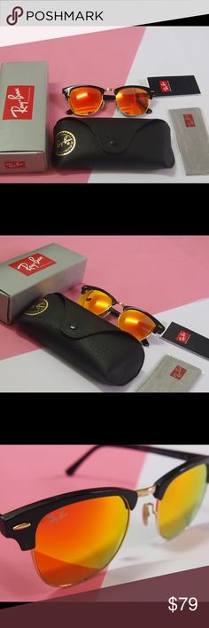 RB 3016 clubmaster Orange sunglasses NWT RB 3016 clubmaster sunglasses Orange NWT 100% authentic and brand new No scratches 62mm  You can check the carved letters on the surface of the glasses Ray-Ban Accessories Sunglasses