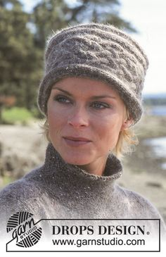 Elaine Hat pattern by DROPS design Knitted Hat/Headband with cable pattern in DROPS Alpaca and DROPS Kid-Silk. Knitting Designs, Knitting Patterns Free, Free Knitting, Knitting Projects, Free Pattern, Hat Patterns, Easy Knit Hat, Knitted Hats Kids, Crochet Hats