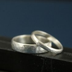 Perfect Hammered Bands--His and Hers Silver Wedding Rings--Wedding Band Set--Simple and Unique--Solid Sterling Silver Hammered Bands
