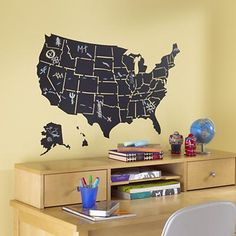 Kids' Wall Decals: USA Map Chalkboard Decal...like it