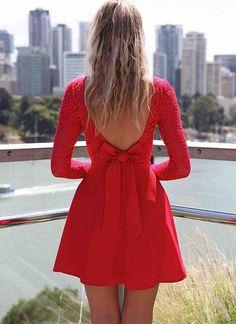 Red Cocktail Dress - Red Long Sleeve Skater Dress   UsTrendy