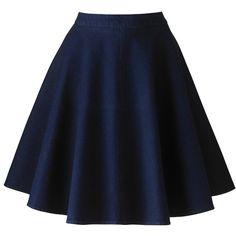 Simply Be Denim Skater Skirt (220 VEF) ❤ liked on Polyvore featuring skirts, bottoms, indigo, circle skirt, knee length skater skirt, blue skirt, flared skirt and denim skater skirt