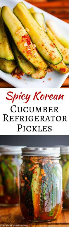 healthy meals food recipes diiner cooking Spicy Korean Cucumber Kimchi Refrigerator Pickles - spicy and a little sour, these pickles are easy to make - I leave them out on the counter to ferment for one day, then refrigerate them ~ jeanetteshealthyl. Korean Cucumber, Cucumber Kimchi, Korean Dishes, Korean Food, Chinese Food, Refrigerator Pickle Recipes, Vegetarian Recipes, Healthy Recipes, Tasty Snacks