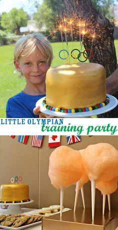 DIY Little Olympian Training Birthday Party hosted via @Lisa Moore ~ MooreMinutes.com ~ DIY Olympic Podium, Olympic Ring Cake, Cotton Candy Olympic Torches and more!