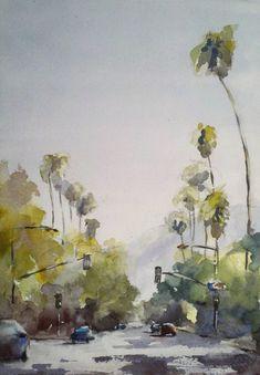 Street scene California palm trees SALE Now by VibrantBrushStrokes, $65.00
