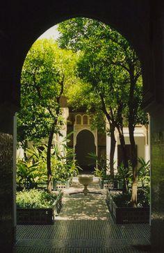 """Moroccan garden - """" Moroccan riad courtyard by """" – Moroccan garden Fachada Colonial, Moroccan Garden, Paradise Garden, Vintage Garden Decor, Patio Interior, Moroccan Interiors, Moroccan Design, Moroccan Decor, Garden Signs"""