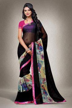LadyIndia.com #Printed Sarees, Urban Naari Black Colored Georgette Printed Saree with Blouse Piece, Printed Sarees, https://ladyindia.com/collections/ethnic-wear/products/urban-naari-black-colored-georgette-printed-saree-with-blouse-piece