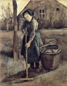 A Girl Raking  - Vincent van Gogh
