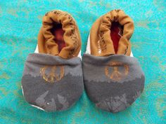 Prototype Baby Booties Birth to 9 Months Gray, Black, and Brown with Peace Sign and Music Note - Medium Weight Fabric by BettieJune on Etsy