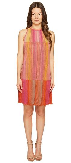 M Missoni Multicolor Plisse Sleeveless Dress (Pink) Women's Dress - M Missoni, Multicolor Plisse Sleeveless Dress, MD0KD20M2FT-664, Apparel Top Dress, Dress, Top, Apparel, Clothes Clothing, Gift, - Fashion Ideas To Inspire