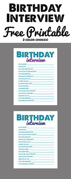 Free Birthday Interview Printable