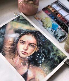 Anatomy study and drawings - Today Pin Watercolor Portraits, Watercolor Paintings, Watercolour, Drawn Art, Arte Sketchbook, Art Hoe, Ap Art, Art Drawings Sketches, Portrait Art