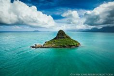 Chinaman's Hat, off Oahu, Hawaii I remember seeming this every time we would head back to our two store rented place. Have to rent a house near there again!! Hayley would love to see all the little crabs!