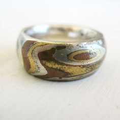 Mokume Gane Ring, Sterling Silver, Copper, Brass, Fall Fashion, Handmade Mokume Gane By HilaBinyamin On Etsy