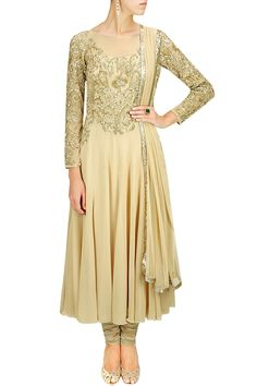 MALASA Beige floral pattern embroidered anarkali set Product Code - MLC2M101480 Price - S$ 629