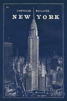 Art Print: Blueprint Map New York Chrysler Building by Sue Schlabach : 36x24in