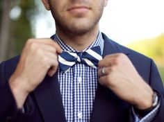 Gingham + stripes #groom #wedding